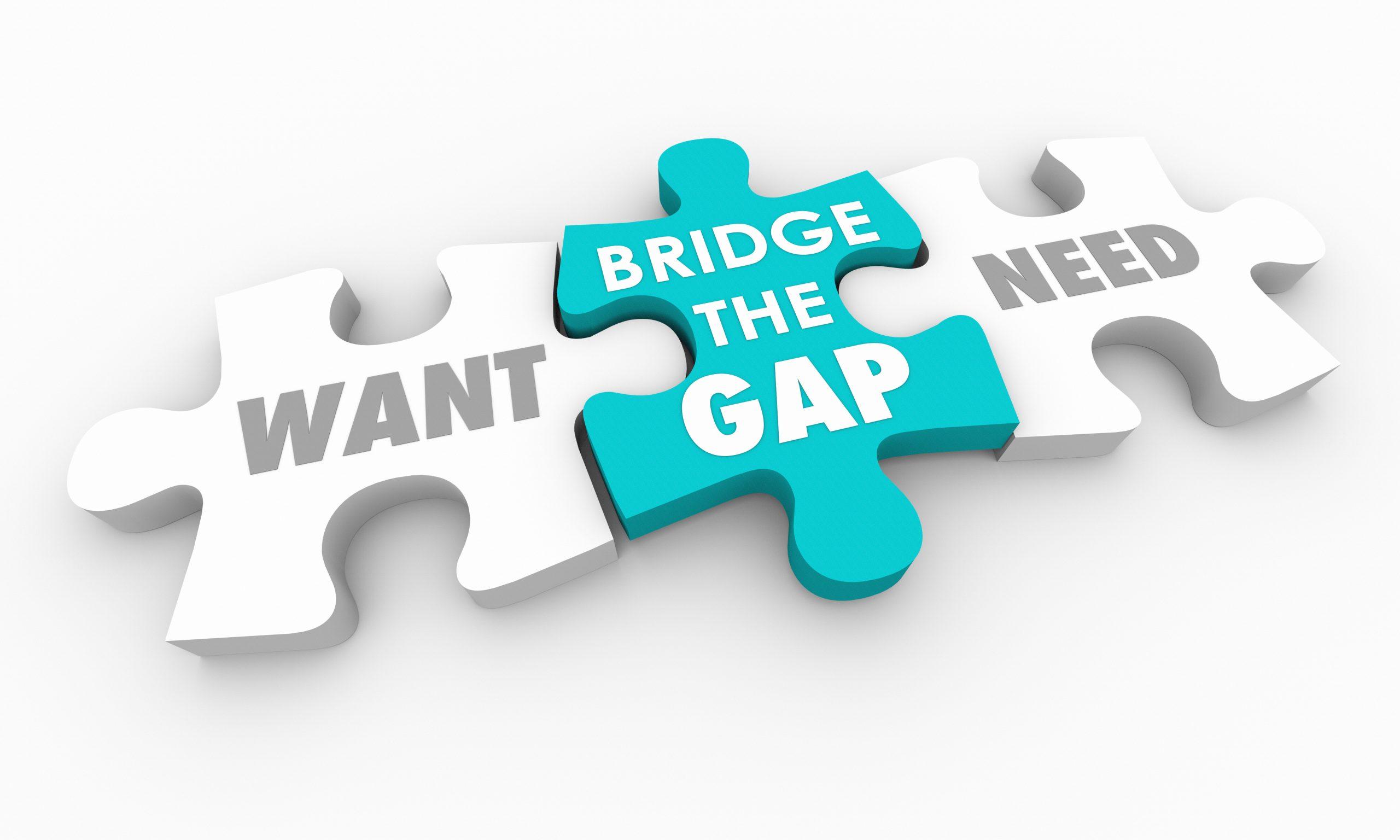 Want Vs Need Bridge the Gap Puzzle Pieces 3d Illustration
